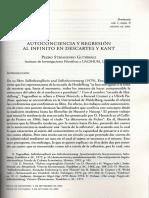 Autoconciencia y Regresión Al Infinito en Descartes y Kant