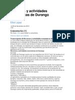 Recursos y Actividades Economicas de Durango1