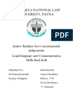 Literary merits of Justice Krishna Iyer in judgements of various cases