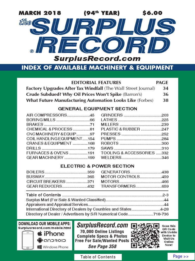 March 2018 Surplus Record Machinery Equipment Directory 48205 4wire Flat Connector Vehicle To Trailer Wiring Numerical Control Grinding Abrasive Cutting