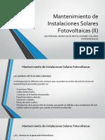 Mantenimiento de Instalaciones Solares Fotovoltaicas II