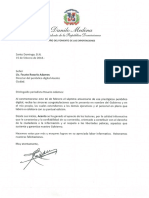 Carta de felicitación del presidente Danilo Medina a Fausto Rosario Adames