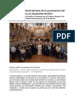 Transcripción Oficial Conversación de Francisco Con Jesuitas Del Perú
