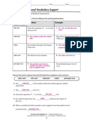 Additional Vocabulary Support: Roots and Radical Expressions
