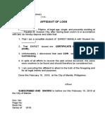EDWIN Affidavit of Loss COR
