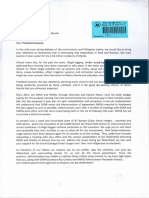 2018-02-14 Letter For President Duterte about the State of Ipo Watershed