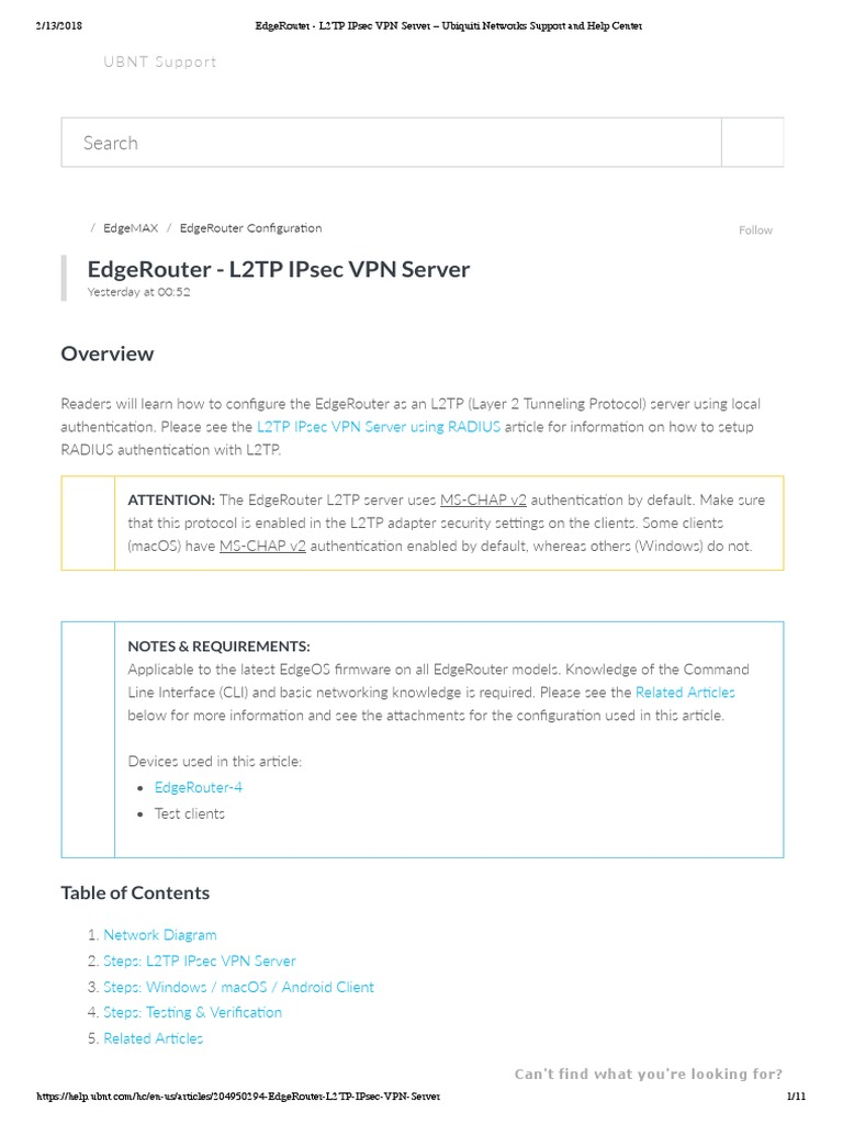 EdgeRouter - L2TP IPsec VPN Server – Ubiquiti Networks Support and