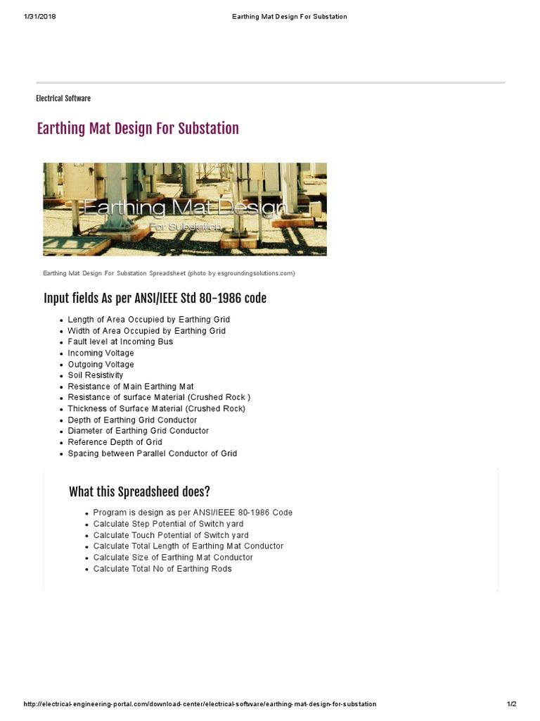 Earthing Mat Design For Substation