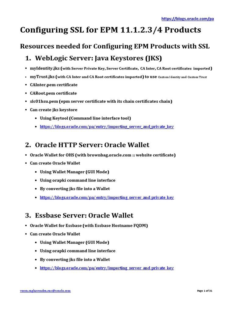 Configuring Epm Productswithfullssl Part1 Public Key Certificate