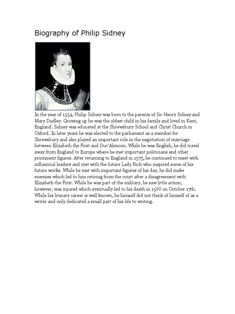 philip sidney biography