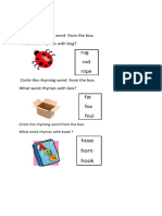 Circle the Rhyming Word From the Box