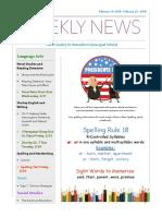 weekly newsletter-feb19- feb23