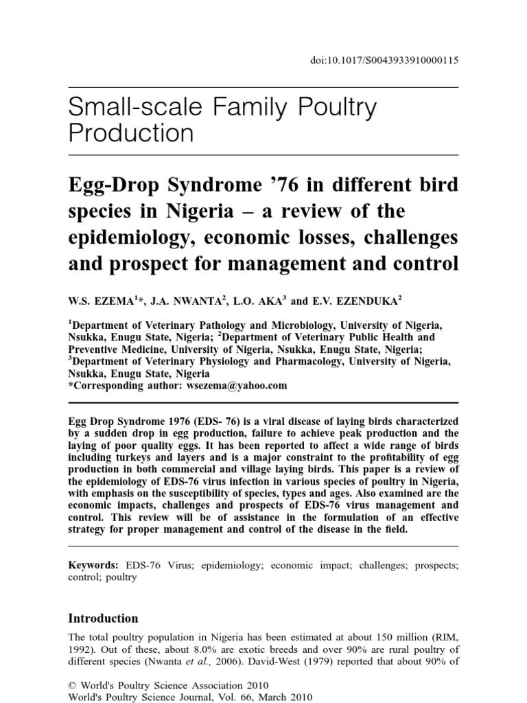 Egg Drop Syndrome '76 EDS76 Disease in Nigeria | Poultry