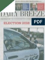 Palos Verdes Estates (PVE) Measure E Parcel Tax Opposition in Daily Breeze 02-11-2018