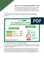 """Lombardia Speciale """"Dipendenti Pubblici"""" Ad Ogni Lombardo Costa 18,42 Euro"""