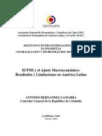 (Hernández Gamarra) El FMI y El Ajuste Macroeconómico. Español, 22 Páginas.
