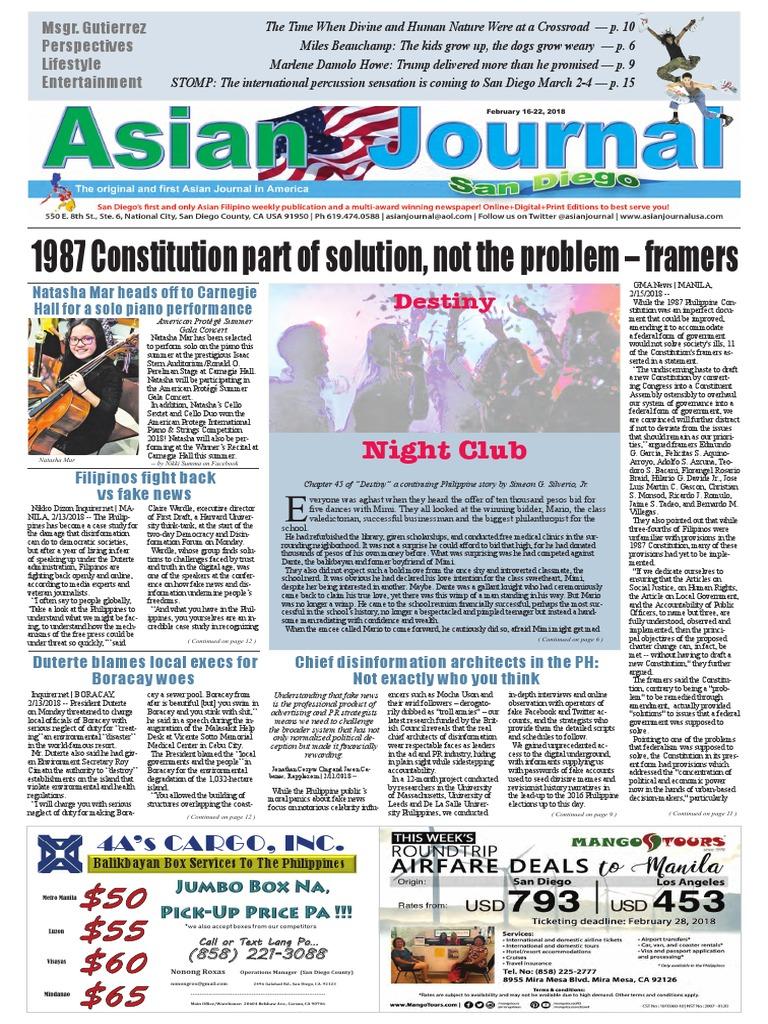 ASIAN JOURNAL February 16, 2018 Edition | Rodrigo Duterte | Philippines