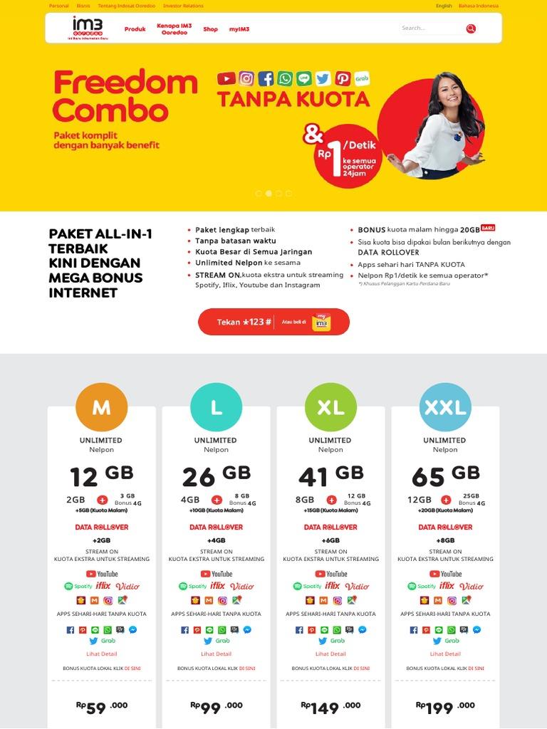 Paket Freedom Combo Dengan Tarif Terbaik Indosat Ooredoo 12gb