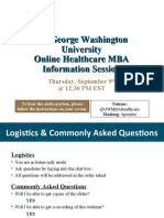 GW Online Healthcare MBA Sept 9th Information Session