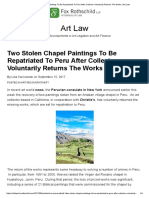 Two Stolen Chapel Paintings to Be Repatriated to Peru After Collector Voluntarily Returns the Works _ Art Law