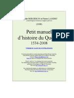 Petit Manuel Hist Qc 1534-2008 Sans