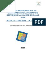 Programacion de Actividades de Unidad de Gestion de La Calidad 2018