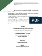 Ley de Transparencia y Acceso a La Informacion Publica Del Estado de Nayarit