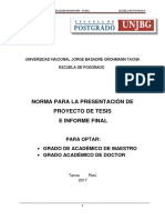 Normas Presentacion de Proyecto Tesis