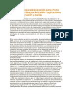 Ecología y Estatus Poblacional Del Puma