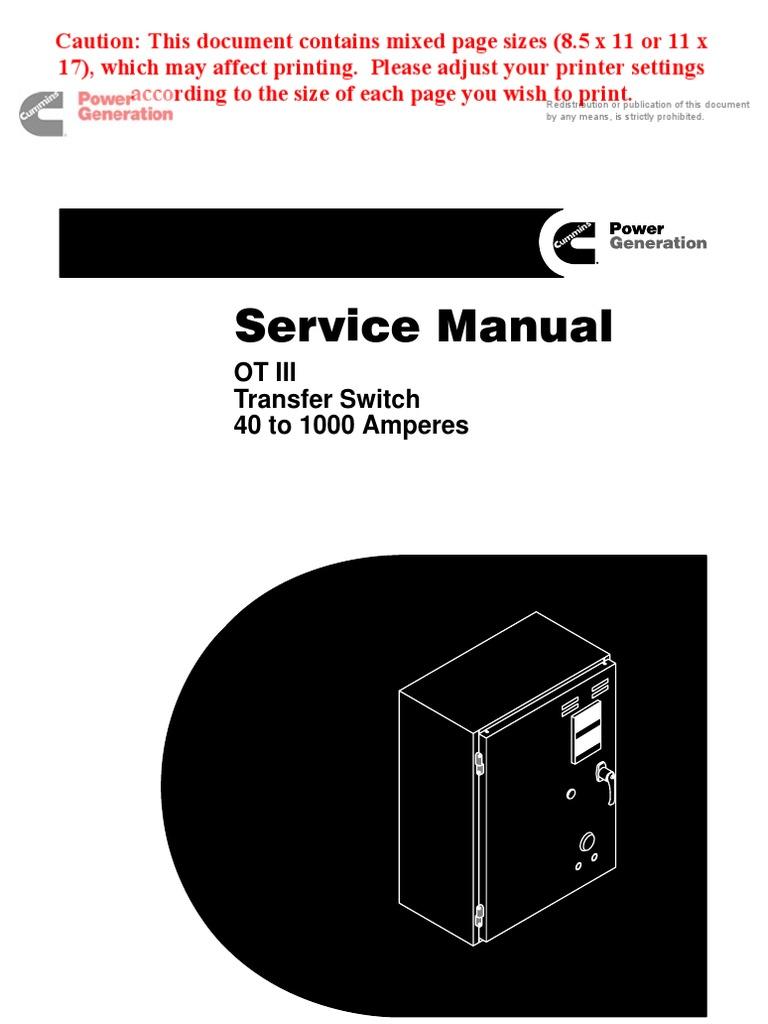 OT III 962-0512 | Switch | Relay Onan Transfer Switch Wiring Diagram on