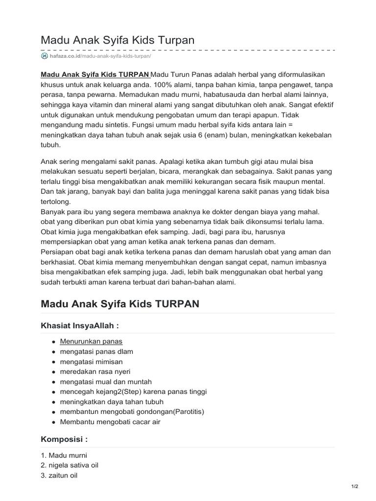 Hafazacoid Madu Anak Syifa Kids Turpan Syamil Kid Id