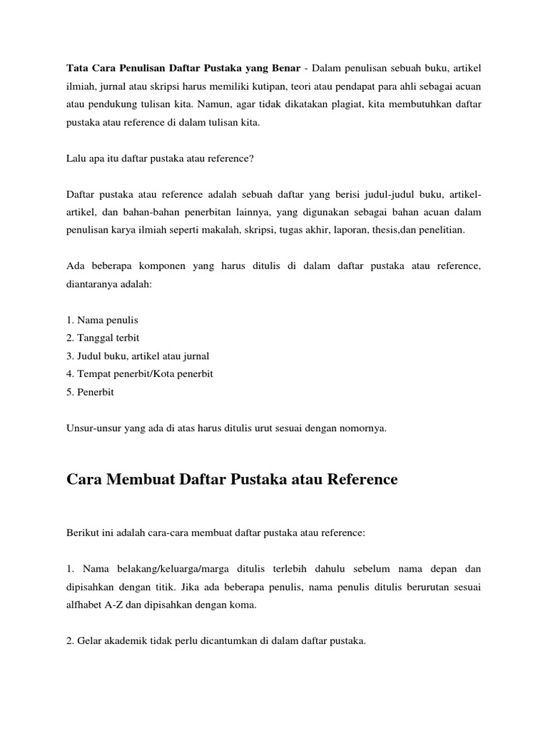 Tata Cara Penulisan Daftar Pustaka Yang Benar
