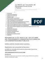 -Resumen de La Ley 392015 de 1 de Octubre Del Procedimiento Administrativo Común de Las Administracion