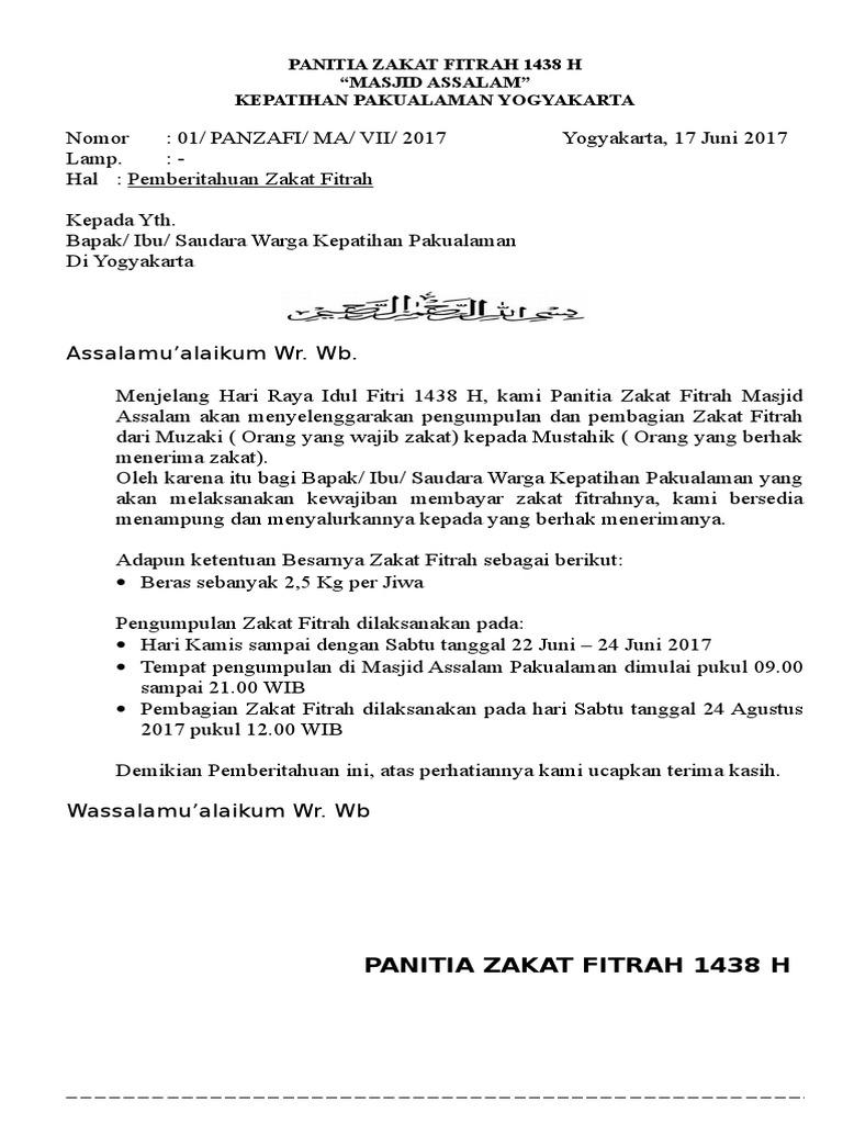 46++ Contoh surat edaran zakat fitrah masjid doc terbaru yang baik