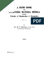 A Handbook of Ayurvedic Material Medica - Savnur (1950)