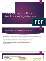 Management of Human Relations in Organizations