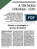 A Tecnologia Social Na Psicologia- Controversias