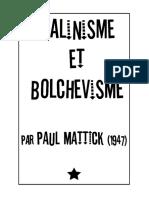 Paul Mattick - Stalinisme et bolchévisme (1947)