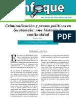 ENFOQUE No. 55 Criminalización y presos políticos en Guatemala una historia de continuidad  segunda parte