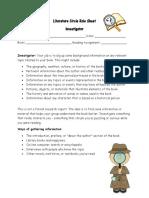 literature circle role sheet- investigator