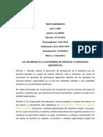 Ley de Impuesto a Los Premios de Sorteos y Concursos Deportivos VIGENTE