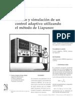 Diseno y Simulacion de Un Control Adaptivo Utilizando El Metodo de Liapunov