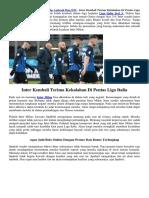 Inter Kembali Terima Kekalahan Di Pentas Liga Italia