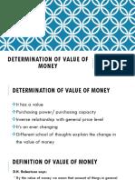 Determination of Value of Money
