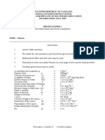 NECTA_Physics Paper 1 1994