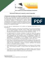 Declaración pública MOVICE 6 de marzo 2010