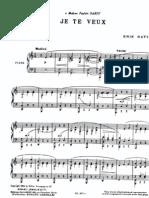 Partituras Satie - Je Te Veux (Sheet Music for Piano)
