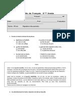 Teste Francês 8 Ano - Loisirs