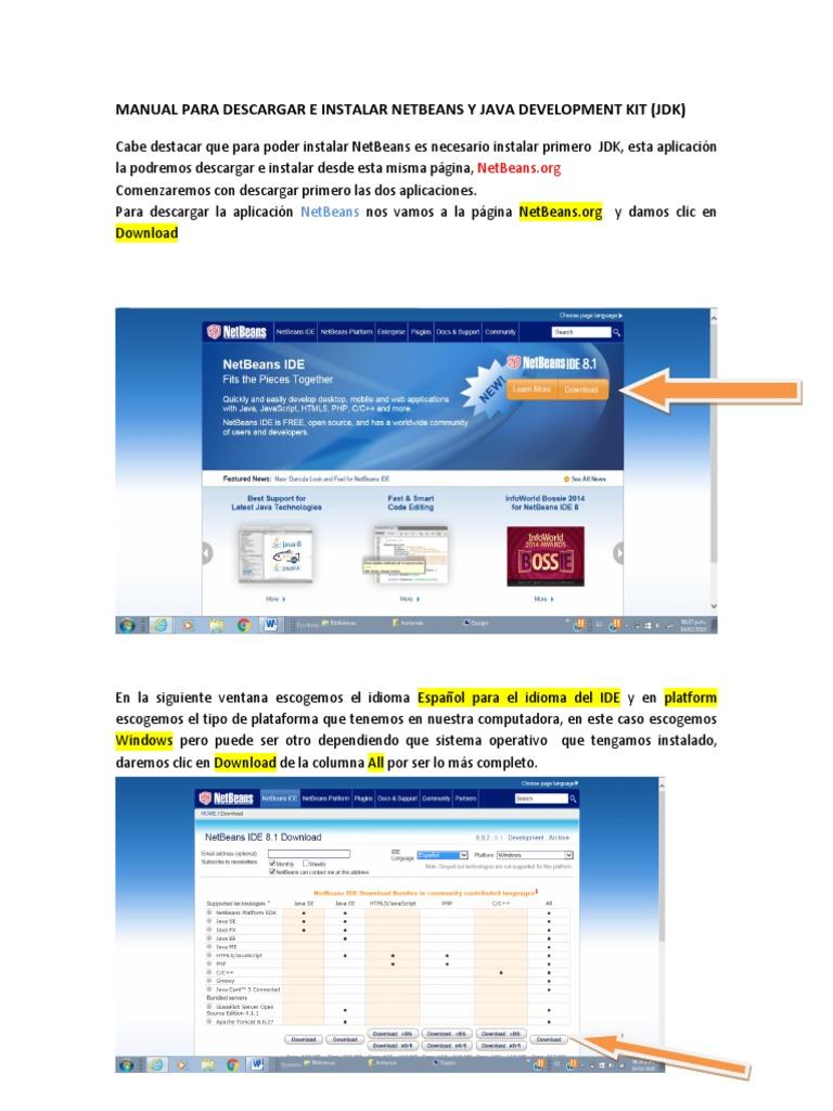 descargar netbeans 8.1 con jdk 64 bits español