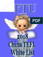 2018 CFTU Whitelist of Chinese Schools For TEFL & ESL Foreign Teachers